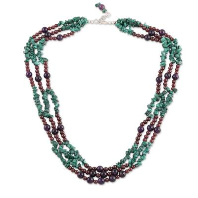 Malachite and amethyst strand necklace