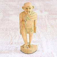 Wood sculpture, 'Gandhi, Preacher of Peace' - Wood Gandhi Sculpture Statuette Hand Carved in India