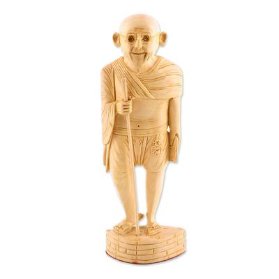 Wood Gandhi Sculpture Statuette Hand Carved in India
