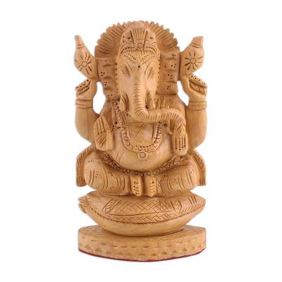 Wood sculpture, 'Ganesha on the Conch Throne' - Wood sculpture