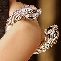 Sterling silver cuff bracelet, 'Tibetan Dragons' - Animal Jewelry Bracelet  Sterling Silver Bangle Dragons