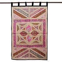 Cotton wall hanging, 'Lavish Lavender' - Gujarati Cotton Wall Hanging Beaded Wall Art