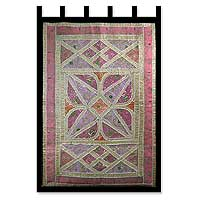 Cotton wall hanging, 'Floral Star' - Gujarati Recycled Cotton Patchwork Wall Hanging