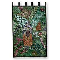 Cotton wall hanging, 'Forest Treasures' - Cotton wall hanging