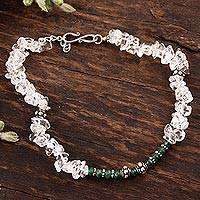Quartz anklet, 'Cloud Forest' - Hand Crafted Indian Sterling Silver Onyx and Quartz Anklet