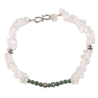 Hand Crafted Indian Sterling Silver Onyx and Quartz Anklet