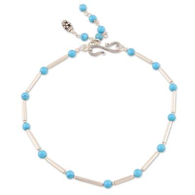 Sterling Silver and Recon Turquoise Indian Anklet Jewelry