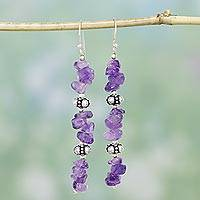 Amethyst dangle earrings, 'Wisteria Garland' - Fair Trade Sterling Silver Beaded Amethyst Earrings