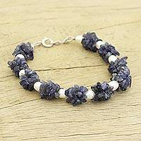 Pearl and iolite beaded bracelet, 'Vineyard' - Fair Trade Iolite and Pearl Bracelet