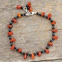 Carnelian and onyx anklet,