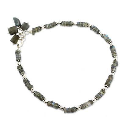 Labradorite Anklet Sterling Silver Handmade India