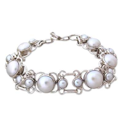 Pearl Bracelet Handcrafted in Sterling Silver Bridal Jewelry