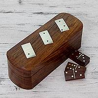 Wood box and dominoes, 'Strategies' - Artisan Crafted Domino Set Game Wood with Brass Inlay