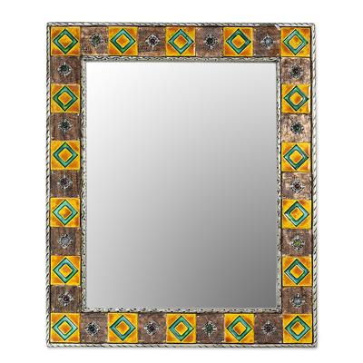 Mirror, 'Autumn Warmth' - Repoussé Copper Mirror India Ceramic Wall Art Handmade
