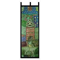 Cotton wall hanging, 'Verdant Land' - Cotton wall hanging