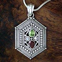 Garnet and peridot pendant necklace, 'Persian Palace' - Garnet and peridot pendant necklace