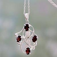 Garnet pendant necklace, 'Fire Berries' - Artisan Crafted Silver and Garnet Pendant Necklace