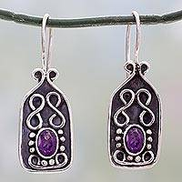 Amethyst drop earrings, 'Fine Wine' (India)