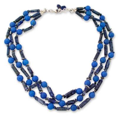 Lapis and chalcedony strand necklace