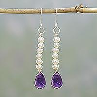 Pearl and amethyst earrings, 'Timeless Treasures' - Pearl and amethyst earrings