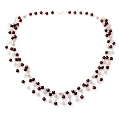 Garnet and Moonstone Waterfall Necklace