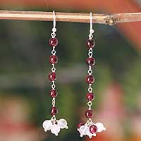 Garnet and moonstone earrings, 'Fiery Frost' - Garnet and Moonstone Sterling Silver Earrings from India