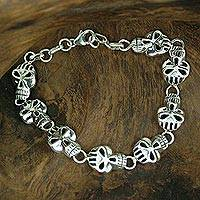 Mens sterling silver bracelet, Deadly Smile