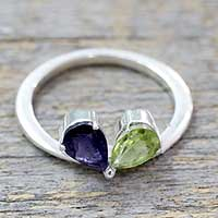 Iolite and peridot cocktail ring, 'Natural Creation' - Indian Iolite and Peridot Sterling Silver Cocktail Ring