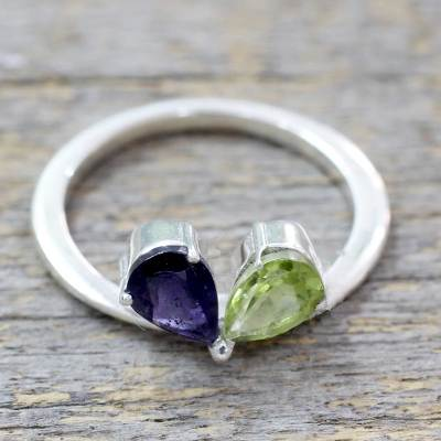 Indian Iolite and Peridot Sterling Silver Cocktail Ring