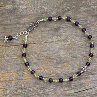 Amethyst and peridot anklet, 'Mystical Alliance' - Amethyst and peridot anklet