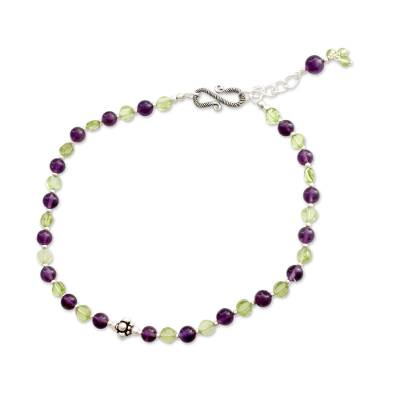 Amethyst and peridot anklet