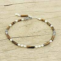 Pearl and tiger's eye anklet, 'Iridescent Harmony' - Women's Sterling Silver Beaded Pearl Tigers Eye Anklet