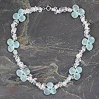Quartz and chalcedony choker, 'Icicles' - Blue Ice Queen Quartz and Chalcedony Choker Necklace