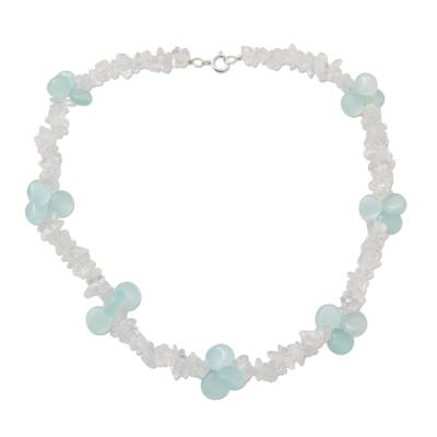 Blue Ice Queen Quartz and Chalcedony Choker Necklace