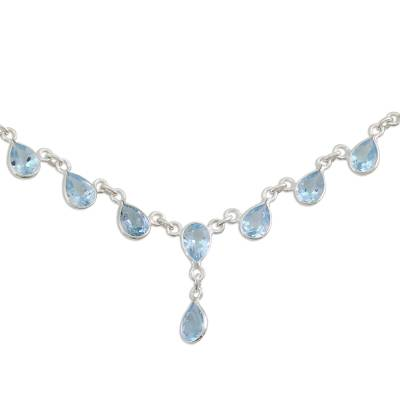 Indian Jewelry Sterling Silver Blue Topaz Necklace