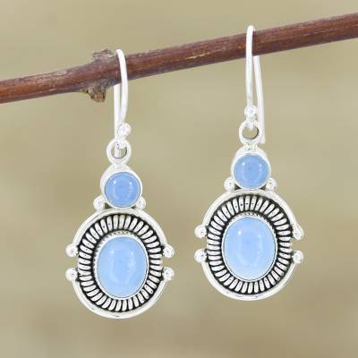 Chalcedony dangle earrings, 'Ocean Mystique' - Artisan Crafted Sterling Silver and Chalcedony Earrings
