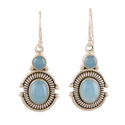 Artisan Crafted Sterling Silver and Chalcedony Earrings