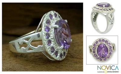 Handcrafted Sterling Silver Multi-Stone Amethyst Ring
