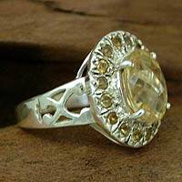 Citrine cocktail ring, 'Circle of Light' - Sterling Silver and Citrine Ring