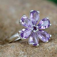 Amethyst floral ring, 'Perfect Petals' - Amethyst Flower Ring in Sterling Silver from India Jewelry