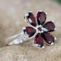 Garnet floral ring, 'Perfect Petals' - Silver and Garnet Flower Ring