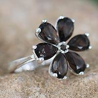 Smoky quartz floral ring, 'Perfect Petals' - Hand Made Smoky Quartz Flower Ring
