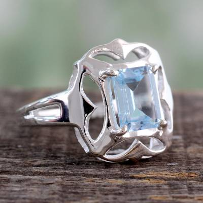 pandora silver heart ring face - Hand Made Silver and Blue Topaz RIng