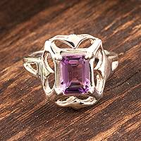 Amethyst cocktail ring, 'Reverie' - Silver and Amethyst Ring