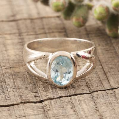 Artisan Crafted Sterling Silver and Blue Topaz Ring