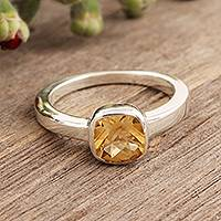 Citrine solitaire ring, 'Sunny Muse' - Hand Crafted Sterling Silver Single Stone Citrine Ring