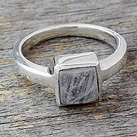 Moonstone solitaire ring, 'Perfection' - Moonstone Ring from India Sterling Silver Jewelry