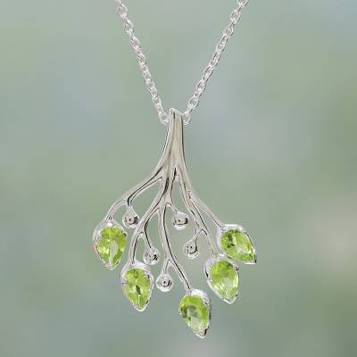 Peridot pendant necklace, 'Summer Willow' - Stunning Silver and Peridot Handmade Necklace