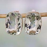 Prasiolite stud earrings, 'Crystal Pool' - Unique Sterling Silver and Prasiolite Button Earrings