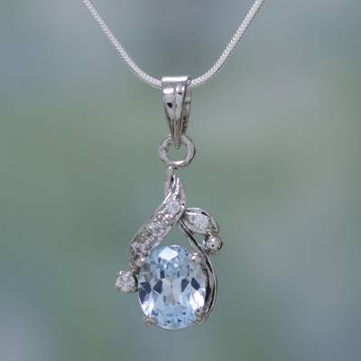Blue topaz floral necklace, 'Dazzling Dew' - Sterling Silver Necklace Cubic Zirconia Blue Handmade